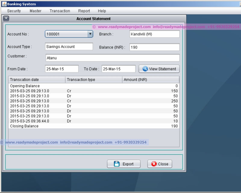 Core JAVA Banking Management System - NetBeans + JAVA + MYSQL DB