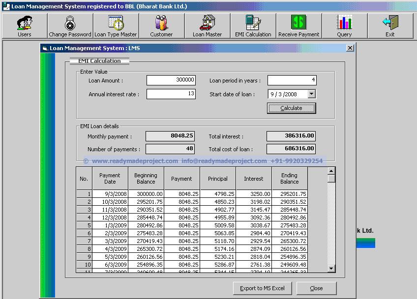 Client Server Loan Management System - VB6, MS Access Project